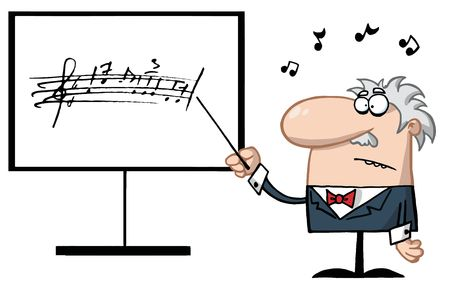Senior Music Teacher Pointing To A Music Board Vector