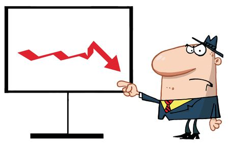 Grumpy Boss Pointing To A Decline Board Stock Vector - 6792692