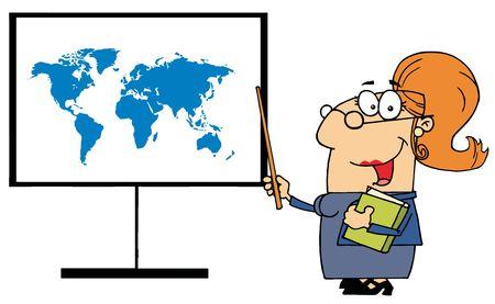 profesiones: Feliz profesor femenina se�alando a una Junta de mapa