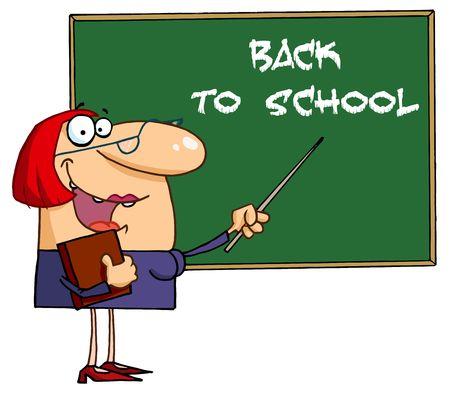 Acogiendo con beneplácito el profesor femenina hacia la A atrás para pizarra de la escuela