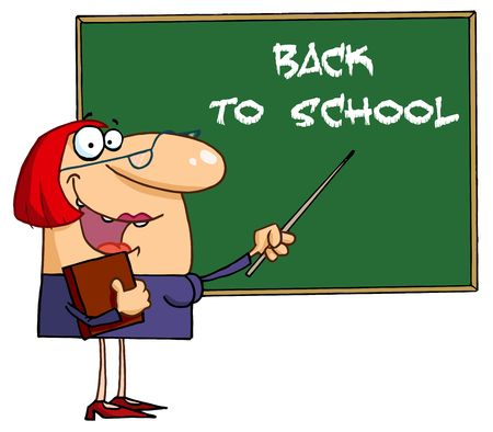 jobs: Welcoming Female Teacher Pointing To A Back To School Chalkboard