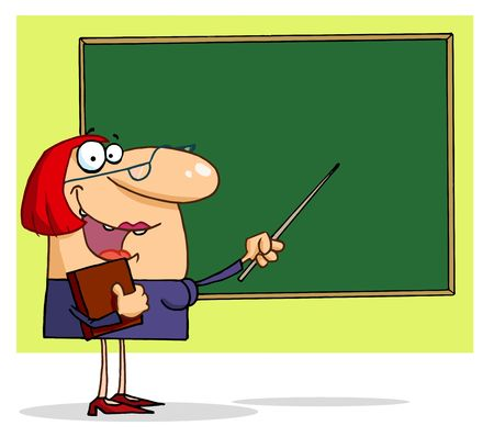 Friendly Female Teacher Pointing To A Chalkboard Vector