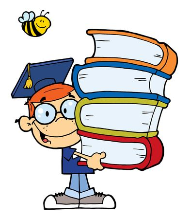 Happy Red Haired Graduate School Boy Carrying A Stack Of Books Illustration