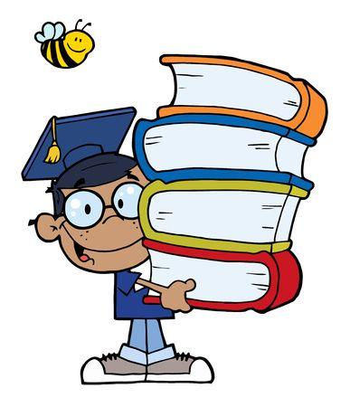 garçon ecole: Abeille sur un bonne Boy African American Ecole transportant une pile de livres  Illustration