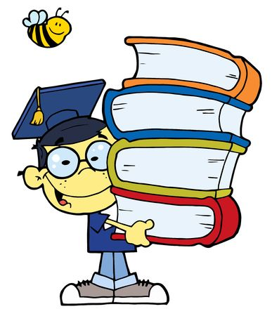 graduate asian: Bee Over A Happy Asian Graduate School Boy Carrying A Stack Of Books Illustration