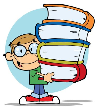 smart boy: Smart Dirty Blond School Boy Carrying A Stack Of Books Illustration