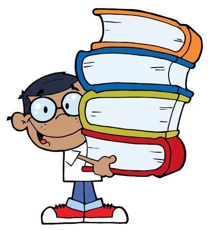 Smart Afrikaanse Amerikaanse School Boy draag een stack van boeken  Stock Illustratie