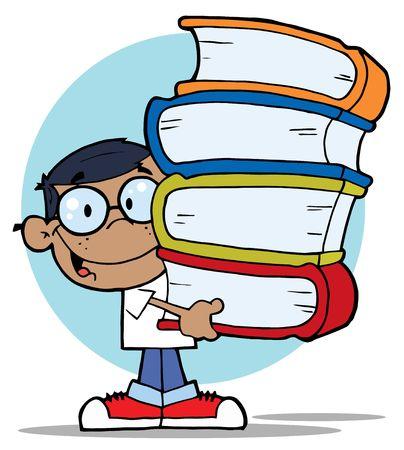 garçon ecole: Boy de puce hispaniques School une pile de livres de transport.
