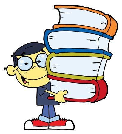 garçon ecole: Puce Oriental School Boy transportant une pile de livres