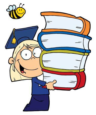 bücherwurm: Biene Over A kaukasischen Graduate School Girl Carrying A Stack Of Books  Illustration