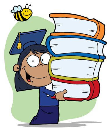 Bee Over A Hispanic Graduate School Girl Carrying A Stack Of Books Vector