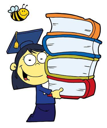 Oosterse Graduate School Girl draag een stack van boeken