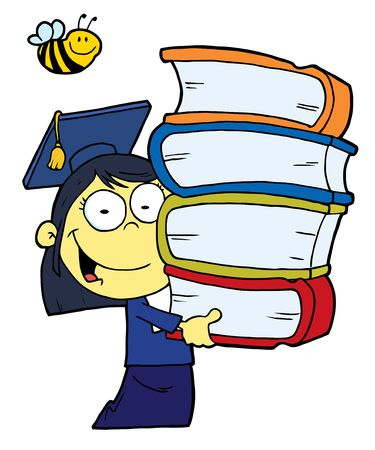 graduating: Oriental Graduate School Girl Carrying A Stack Of Books Illustration