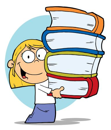 bücherwurm: Smart Blond Schulm�dchen Carrying A Stack Of Books