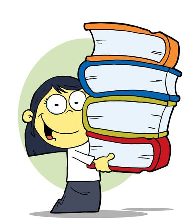 Smart Oriental School Girl Carrying A Stack Of Books Vector