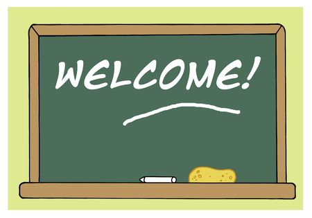 Welcome Chalkboard In A Class Room Vector