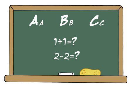 onderwijs: Wiskunde- en alfabet school bord In een klas lokaal