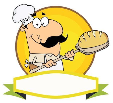 online logo: Caucasian Baker Holding Bread Over A Yellow Circle And Blank Banner Illustration