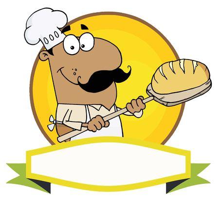 黄色の円と空白のバナー上にパンを置くヒスパニックのパン屋