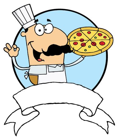 Male Pizzeria Chef Holding A Pizza Pie With A Blank Banner And Blue Circle 向量圖像
