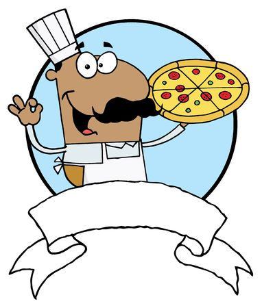 jobs: Male Pizzeria Chef Holding A Pizza With A Blank Banner And Blue Circle