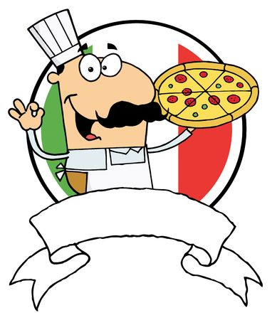 Male Pizzeria Chef Holding A Pizza Pie With A Blank Banner And Italian Flag