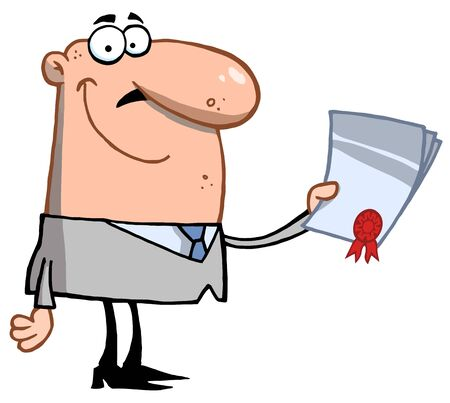 Caucasian Businessman Holding An Award Or Contract Illustration