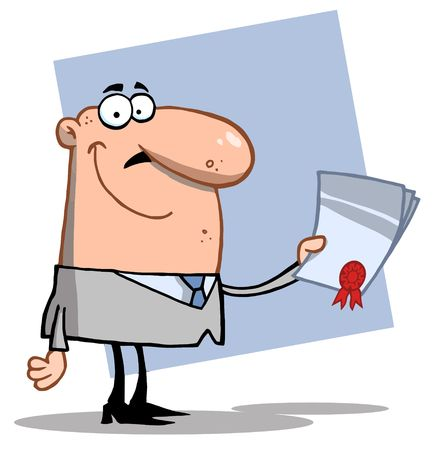 stock clip art icon: Successful Caucasian Business Guy Holding An Award Or Contract