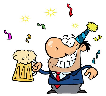 office party: A�o nuevo de bebe cerveza Man Holding Vectores