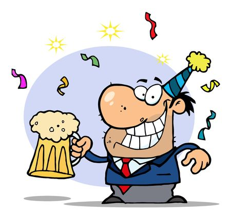 b day party: Drunk New Years Man Holding Beer Illustration