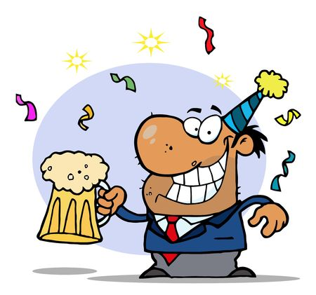 x mas party: Drunk New Years Party Man Holding Beer Illustration