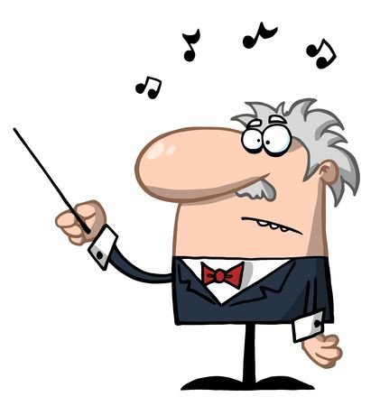 Senior Conductor Waving A Baton Stock Vector - 6792601