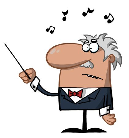 Male Conductor Waving A Baton Vector
