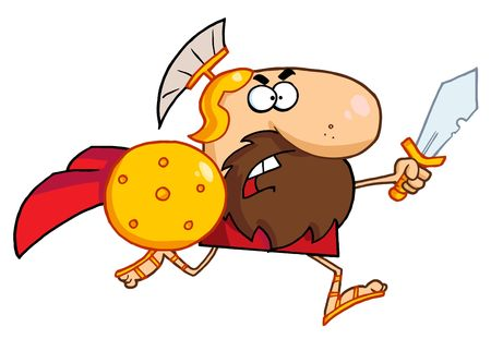 Mutig Gladiator Knight-Running With A Shield And Sword  Vektorgrafik