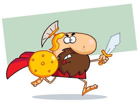 spartano: Gladiatore spartano maschio con un scudo e la spada  Vettoriali