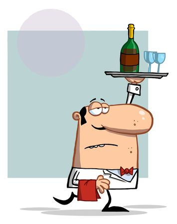 wine stocks: Serving Waiter Carrying A Tray With Wine Illustration