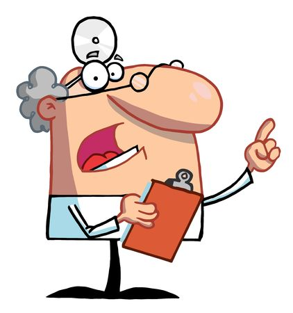 stock clip art icon: Male Doctor Holding A Clipboard And Hollering