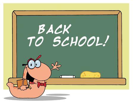 bücherwurm: Student B�cherwurm von A Back To School Class Zimmer Chalk Board