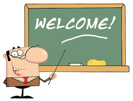 Male School Teacher Pointing To A Welcome Chalkboard Ilustracja