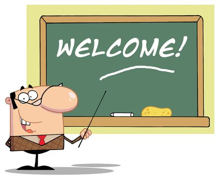 Male School Teacher Pointing To A Welcome Chalk Board Ilustrace