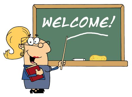 Blond Female School Teacher Pointing To Welcome On A Chalkboard Vector