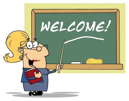 Blond Lady School Teacher Pointing To Welcome On A Chalkboard Vector