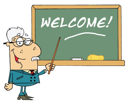 Senior Male School Teacher Pointing To A Welcome Chalk Board Vector