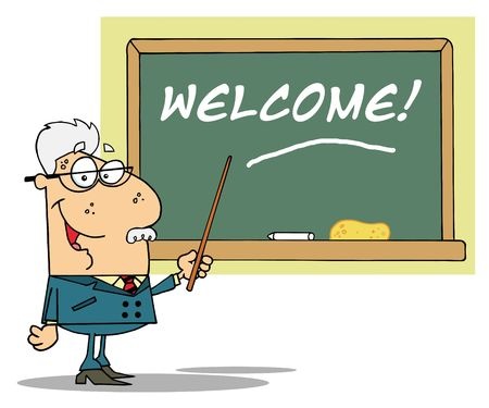 Senior Male School Teacher Pointing To A Welcome Chalkboard Vector