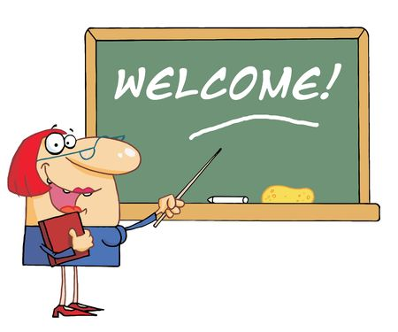 Lady School Teacher Pointing To Welcome On A Chalkboard Vector