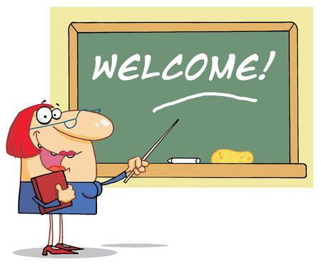 school teacher: Lady School Teacher Pointing To Welcome On A Chalk Board