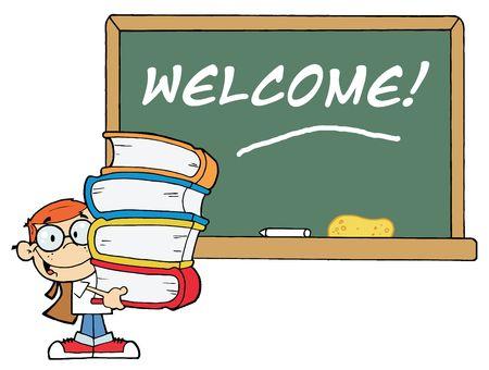 Schule Boy tragen Books By A Willkommen Chalk Board  Standard-Bild - 6792901