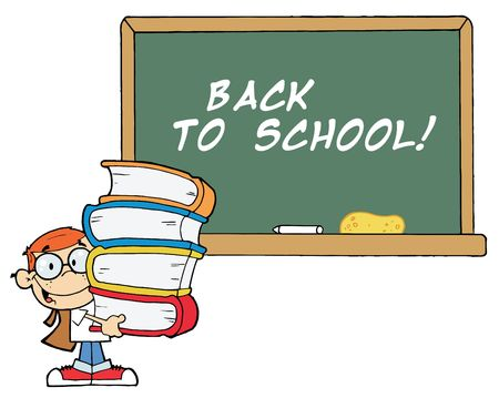 Student With Books In Front Of School Chalk Board With Text Welcome! Vector