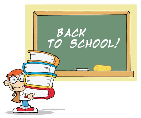 School Boy Carrying Text Books By A Back To School Chalk Board Vector