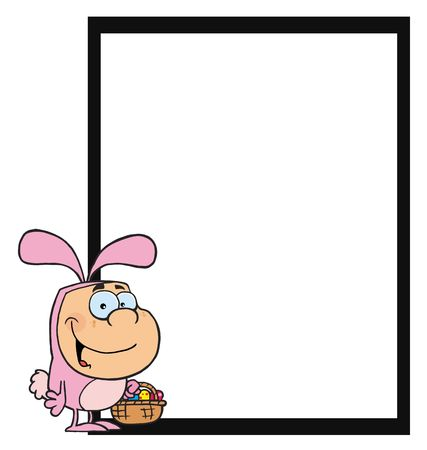 Boy In Bunny Costume, Standing By A Blank Sign Vector